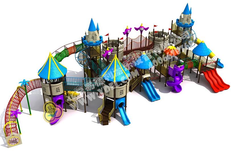 高端户外城堡造型滑梯五