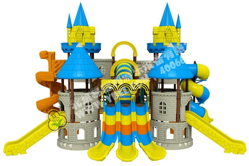 高端户外城堡造型滑梯一