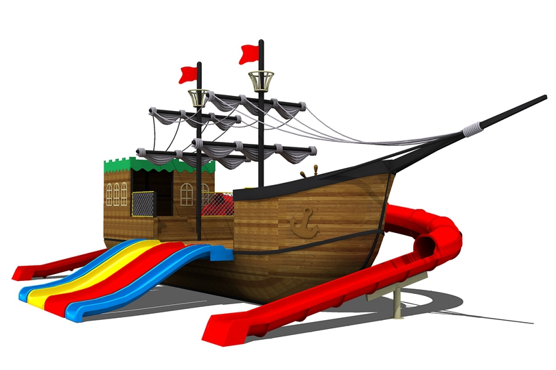 海盗船多滑道滑梯设备