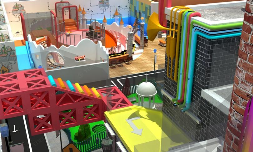 建筑风格淘气堡游戏区域