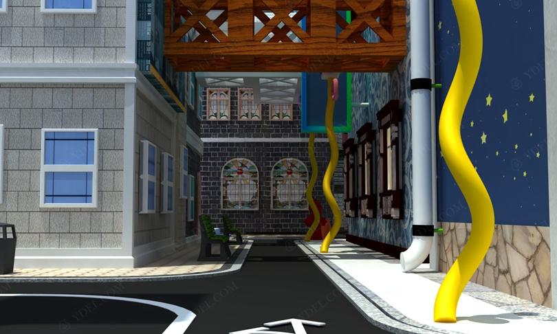 建筑风格淘气堡通道