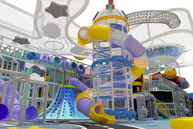 室内儿童淘气堡乐园旋转滑梯