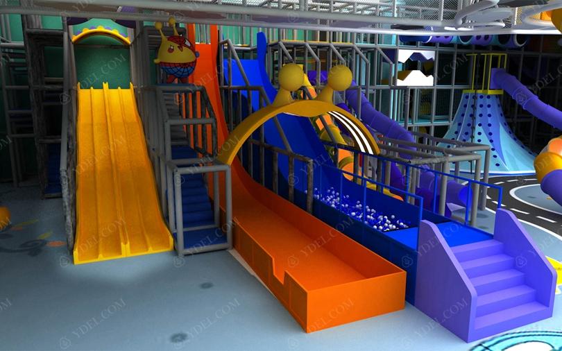 室内儿童淘气堡乐园滑梯组合