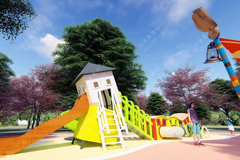 天津公园定制歪房子滑梯